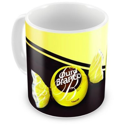 Caneca Personalizada Porcelana Chocolate Ouro Branco