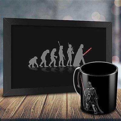Caneca Personalizada Darth Vader Sabre de Luz + Quadro Evolução Geek