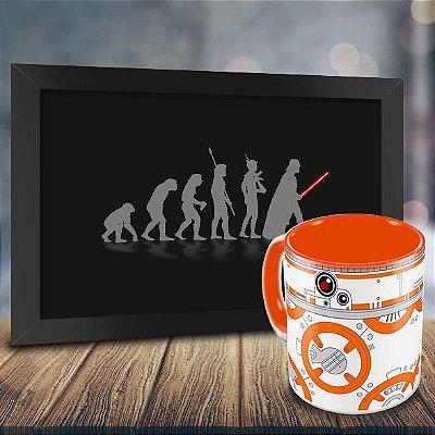 Caneca Personalizada Porcelana BB8 + Quadro Evolução Geek