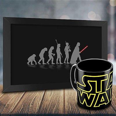 Caneca Personalizada Star Wars Preta + Quadro Evolução Geek