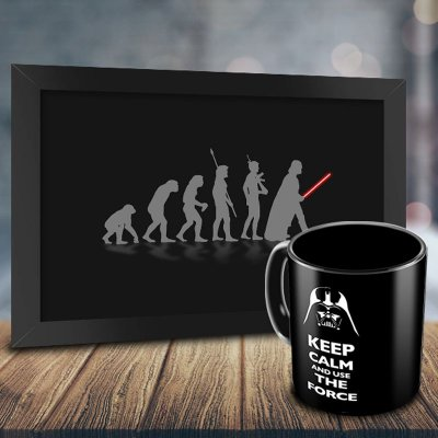 Caneca Personalizada Keep Calm and Use The Force + Quadro Evolução Geek