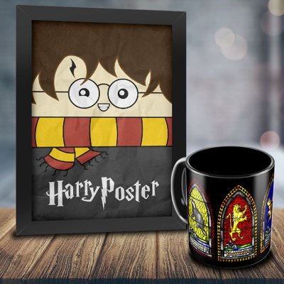 Caneca Personalizada Harry Potter Vitral Casa Harry Potter + Quadro Harry Poster
