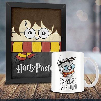 Caneca Personalizada Expresso Patronum + Quadro Harry Poster