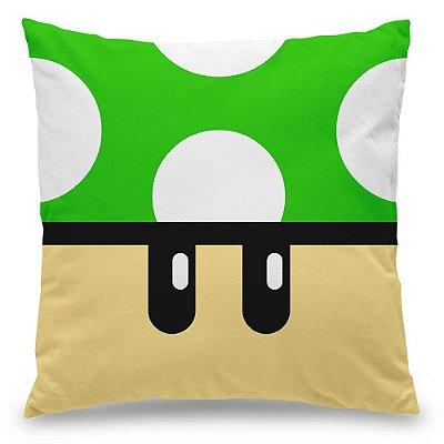 Almofada Personalizada Gamer Cogumelo Verde 1 Up