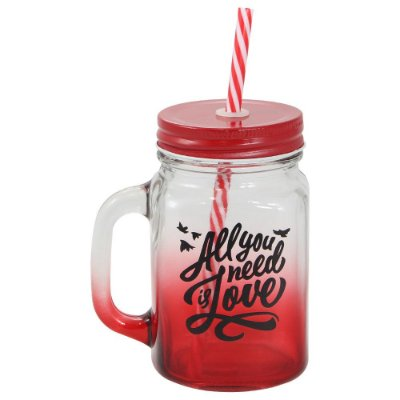 Caneca Jarra com Canudo All You Need is Love