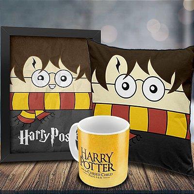 Caneca Harry Potter e a Criança Amaldiçoada + Quadro Harry Poster + Almofada Harry Potter