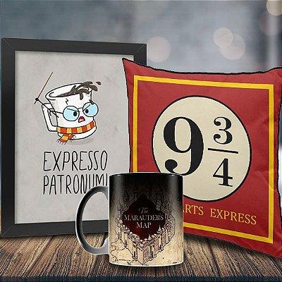 Caneca Mágica Harry Potter Mapa do Maroto + Quadro Expresso Patronum + Almofada Hogwarts Express