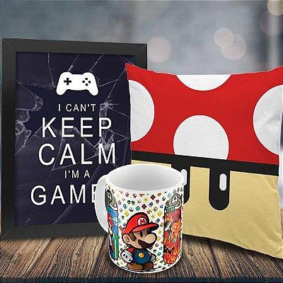 Caneca Mario e Luigi + Quadro Keep Calm I'm a Gamer + Almofada Cogumelo Vermelho