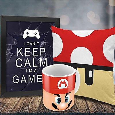 Caneca Mario + Quadro Keep Calm I'm a Gamer + Almofada Cogumelo Vermelho