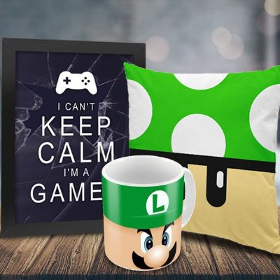 Caneca Luigi + Quadro Keep Calm I'm a Gamer + Almofada Cogumelo Verde