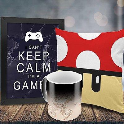 Caneca Mágica Mapa Mundi Super Mário Bros + Quadro Keep Calm i'm a Gamer + Almofada Cogumelo Vermelho
