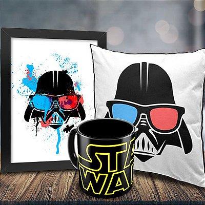 Caneca Star Wars (preta) + Quadro Darth Vader Geek Side + Almofada Personalizada