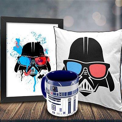 Caneca Star Wars R2D2 + Quadro Darth Vader Geek Side + Almofada Personalizada
