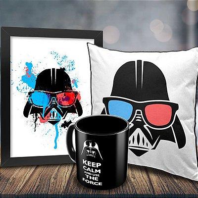 Caneca Star Wars Keep Calm and Use the Force + Quadro Darth Vader Geek Side + Almofada Personalizada