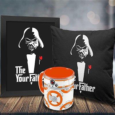 Caneca Star Wars BB8 + Quadro Darth Vader Your Father + Almofada Personalizada