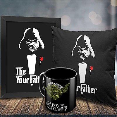 Caneca Star Wars Yoda (preta) + Quadro Darth Vader Your Father + Almofada Personalizada