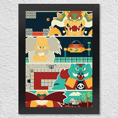 Quadro Poster Vilões Games Nintendo