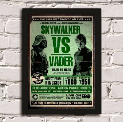 Quadro Poster Skywalker vs Darth Vader