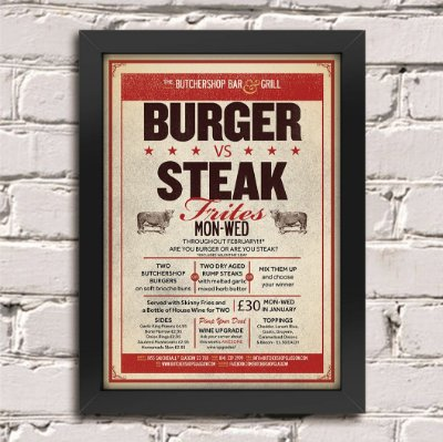 Quadro Poster Burger vs Steak