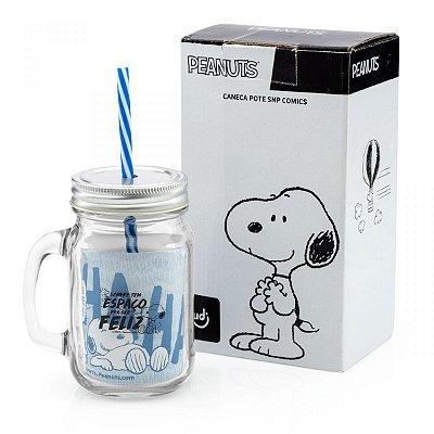 Caneca Jarra com Canudo Snoopy Comics