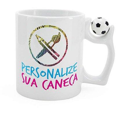 Caneca de Porcelana Alça Bola Personalizada do seu Jeito