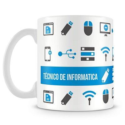 Caneca Personalizada Porcelana Profissão Técnico de Informatica