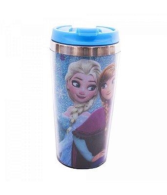 Copo Térmico Azul Com Tampa Anna, Elsa & Olaf Frozen