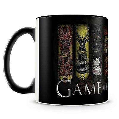 Caneca Personalizada Porcelana Game of Thrones Casas (Preta)