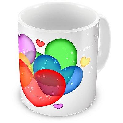Caneca Personalizada Porcelana Corações Coloridos