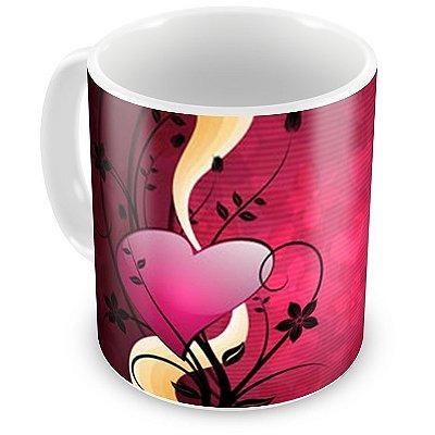 Caneca Personalizada Porcelana Ramalhete de Coração