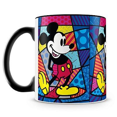 Caneca Personalizada Porcelana Romero Britto Mickey (Preta)
