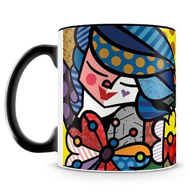 Caneca Personalizada Porcelana Romero Britto Vitral (Preta)