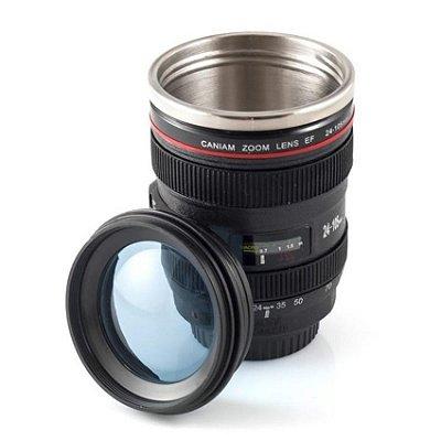 Caneca Termica Lente Camera Digital Canon 24-105mm - Copo de Aluminio