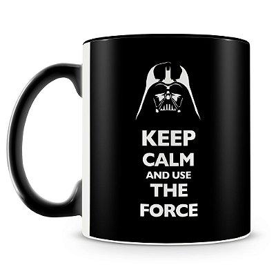 Caneca Personalizada Darth Vader Keep Calm and use The Force (Preta)