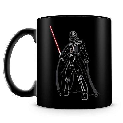 Caneca Personalizada Porcelana Darth Vader Sabre de Luz (100% Preta)