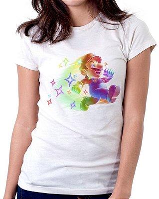 Camiseta Feminina Baby Look Personalizada Estampa Star Mario Bros