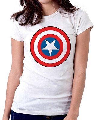 Camiseta Feminina Baby Look Personalizada Estampa Capitão América