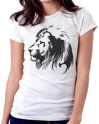 Camiseta Feminina Baby Look Personalizada Estampa Leão