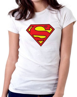 Camiseta Feminina Baby Look Personalizada Estampa Super Girl