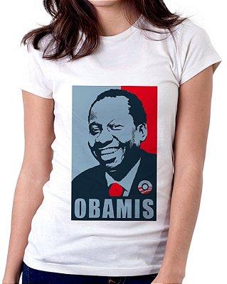 Camiseta Feminina Baby Look Personalizada Estampa Obamis