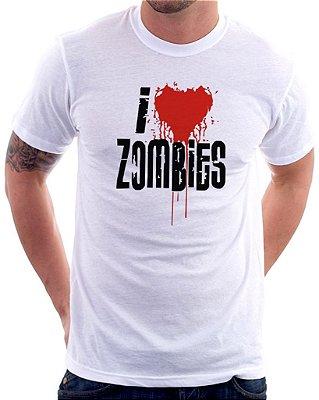 Camiseta Masculina Personalizada Estampa I Love Zombies