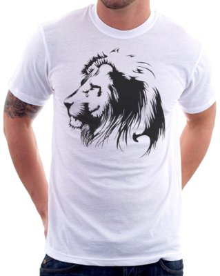 Camiseta Masculina Personalizada Estampa Leão