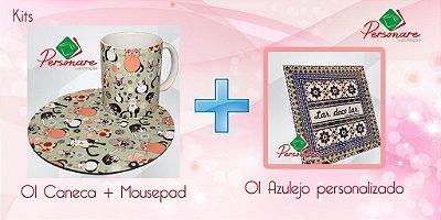 Kit Personalizado - Caneca + Mousepad + Azulejo