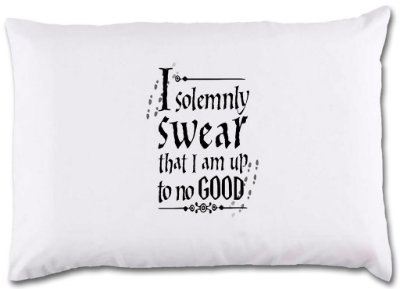 "Fronha para travesseiro ""I Solemnly swear that I am up tp no good"""