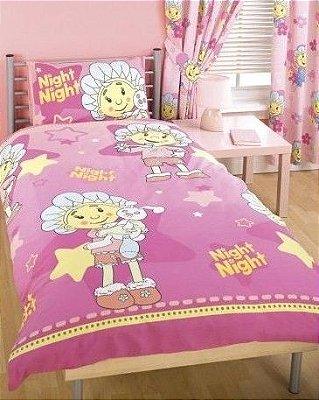 Jogo de cama simples com lençol e fronha da Fifi e os Floriguinhos