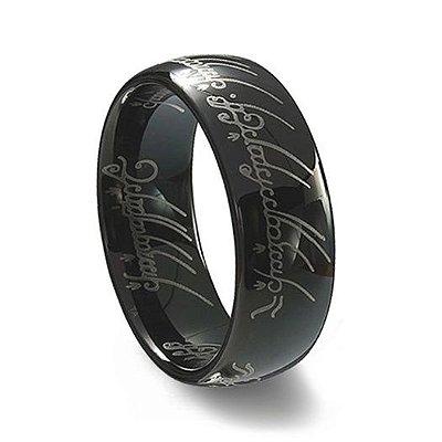 Anel Senhor dos Anéis Preto Tungstênio - Versão com escrita - Aro 17