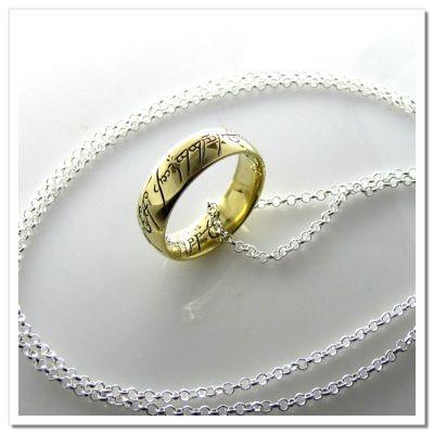 Anel Senhor dos Anéis - Versão com escrita - Com colar em aço prateado