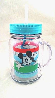 Caneca Mickey Mouse com tampa e canudo