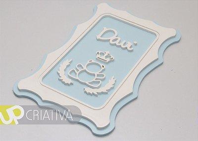 Quadro porta maternidade e quarto de bebê urso com nome personalizado