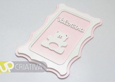 Quadro porta maternidade e quarto do bebê ursa personalizado